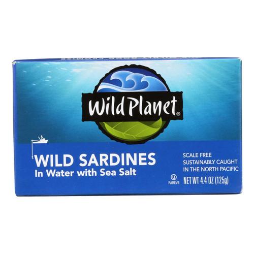 Wild Planet Wild Sardines In Spring Water - Case of 12 - 4.375 oz.