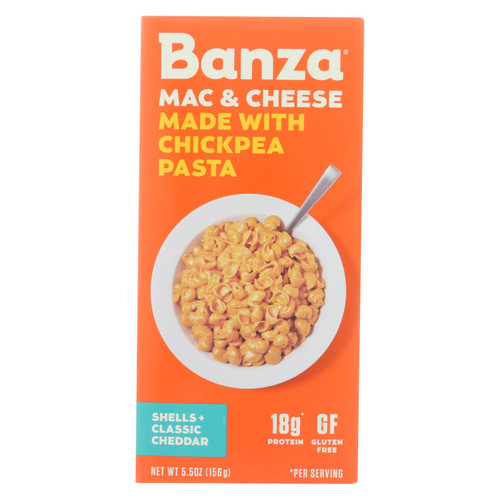 Banza - Chickpea Pasta Mac and Cheese - Shells and Classic Cheddar - Case of 6 - 5.5 oz. on  Appalachian Organics
