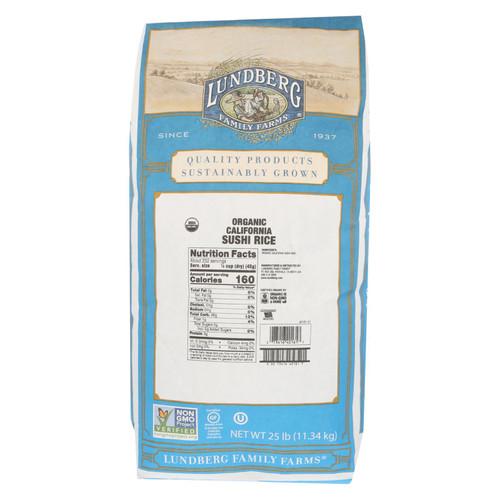 Lundberg Family Farms Organic Sushi Short Grain White Rice - Case of 25 lbs on  Appalachian Organics
