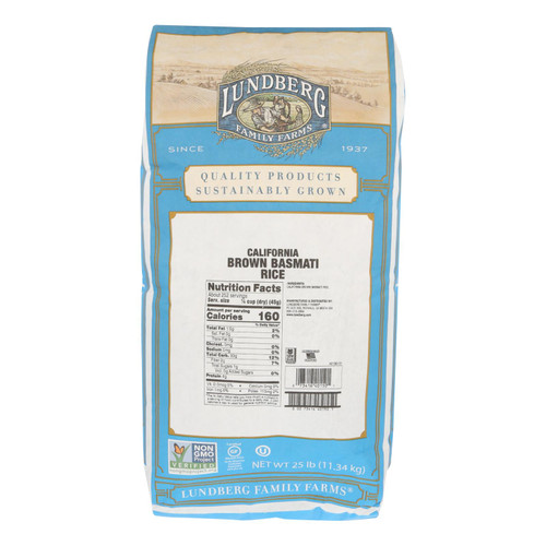 Lundberg Family Farms Brown Basmati Rice - Case of 25 lbs