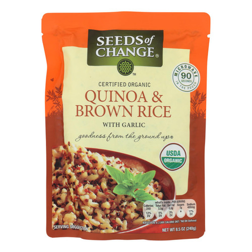 Seeds of Change Organic Quinoa and Brown Rice with Garlic - Case of 12 - 8.5 oz. on  Appalachian Organics