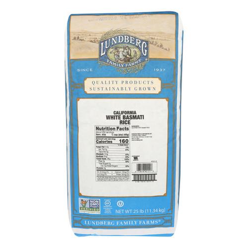 Lundberg Family Farms California White Basmati Rice - Case of 25 lbs