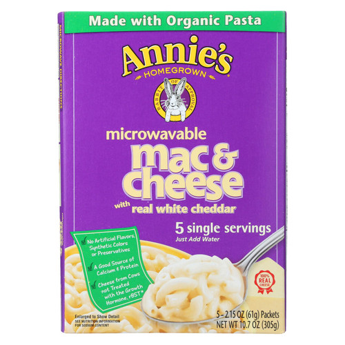 Annie's Homegrown Microwavable Mac and Cheese with Real White Cheddar - Case of 6 - 10.7 oz. on  Appalachian Organics