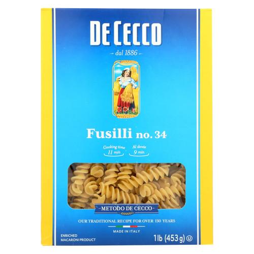De Cecco Pasta - Pasta - Fusilli - Case of 12 - 16 oz