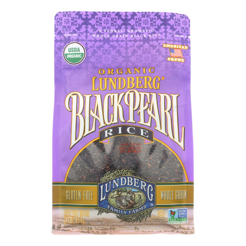 Lundberg Family Farms Organic Rice - Black Pearl - Case of 6 - 1 lb.