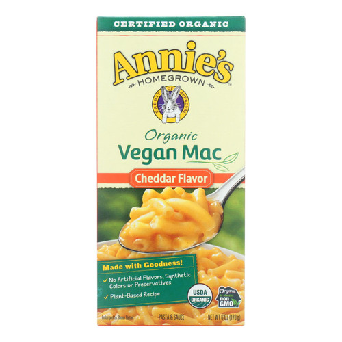 Annie's Homegrown Organic Macaroni & Cheese - Vegan Cheddar Flavored - Case of 12 - 6 oz