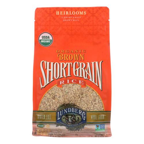 Lundberg Family Farms Organic Short Grain Brown Rice - Case of 6 - 2 lb.