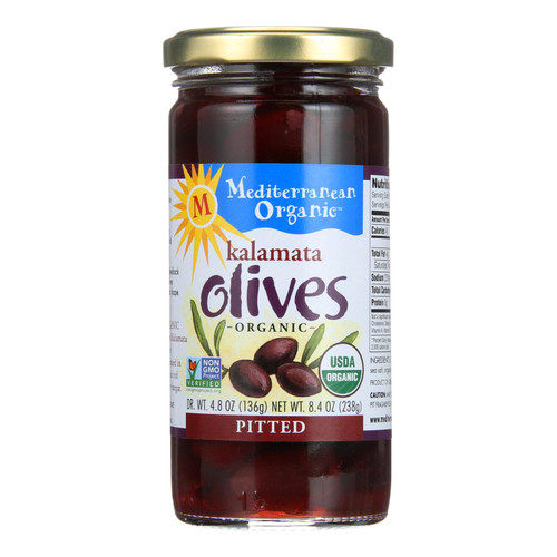 Mediterranean Organic Organic Pitted Kalamata Olives - Case of 12 - 8.4 OZ