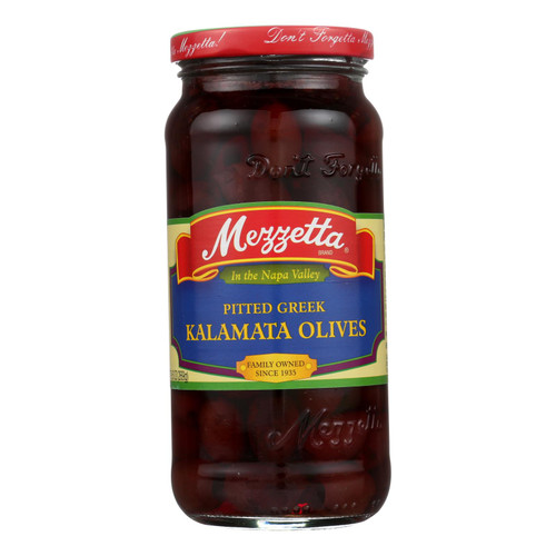 Mezzetta Pitted Greek Kalamata Olives - Case of 6 - 9.5 oz.