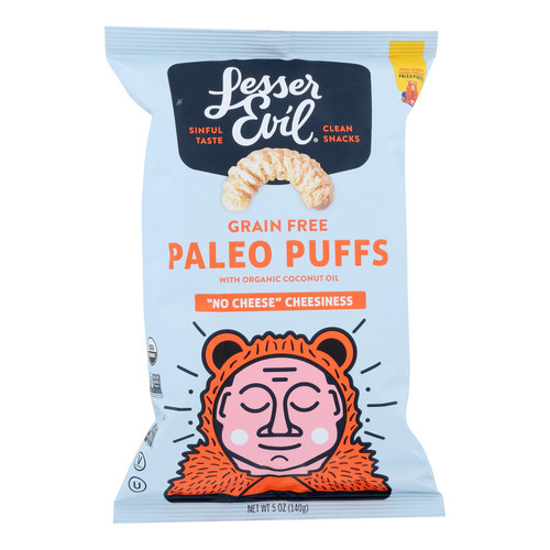 Lesser Evil Puffs - Crunchy No Cheese Cheesiness - Case of 9 - 5 oz.