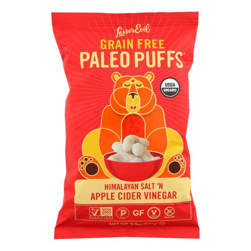 Lesser Evil Puffs - Crunchy Him Slt and Apple Cider Vinegar - Case of 9 - 5 oz.