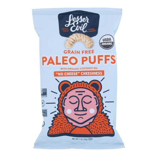Lesser Evil - Paleo Puff No Cheesns - Case of 24 - 1 OZ
