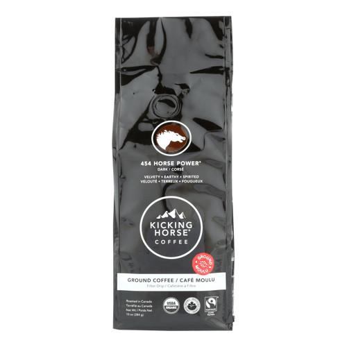 Kicking Horse Coffee - Organic - Ground - 454 Horse Power - Dark Roast - 10 oz - case of 6