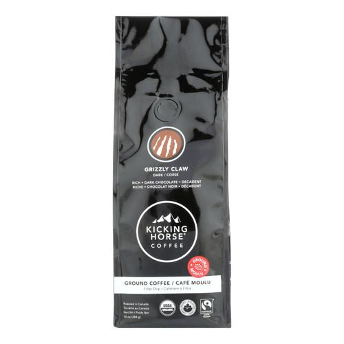 Kicking Horse Coffee - Organic - Ground - Grizzly Claw - Dark Roast - 10 oz - case of 6