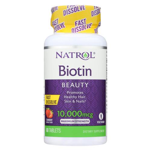 Natrol Biotin - Fast Dissolve - Strawberry - 10,000 mcg - 60 Tablets