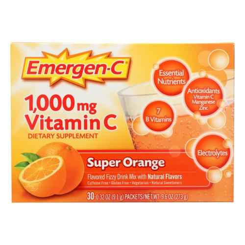 Alacer Emergen-C 1000 mg Vitamin C - Super Orange - 30 Packet