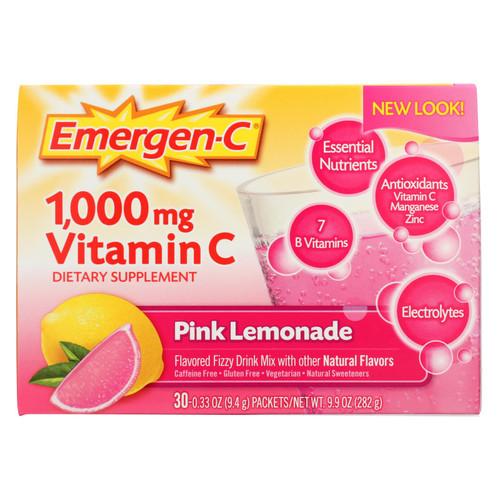 Alacer Emergen-C Vitamin C Fizzy Drink Mix Pink Lemonade - 1000 mg - 30 Packets