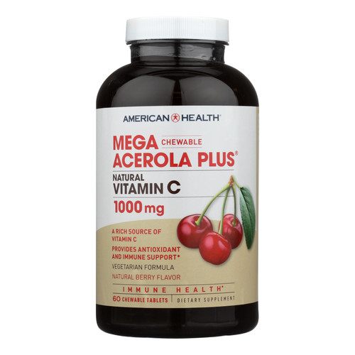 American Health Mega Acerola Plus Chewable Natural Berry - 60 Chewable Wafers