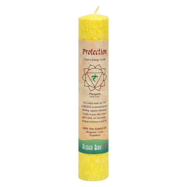 Aloha Bay Chakra Pillar Candle Protection Yellow - 1 Candle
