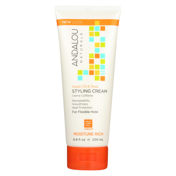 Andalou Naturals Smooth Hold Styling Cream Argan and Sweet Orange - 6.8 fl oz