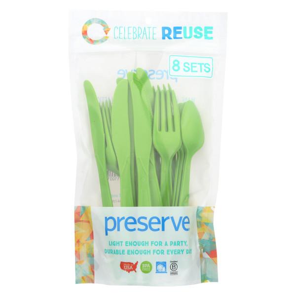 Preserve Reusable Utensil Sets - Apple Green - 8 Sets 24 Pieces total