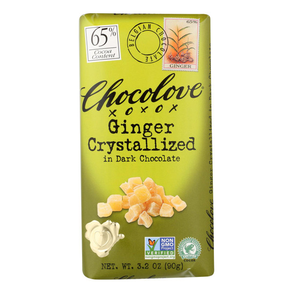 Chocolove Xoxox Premium Chocolate Bar - Dark Chocolate - Ginger Crystallized - 3.2 oz Bars - Case of 12