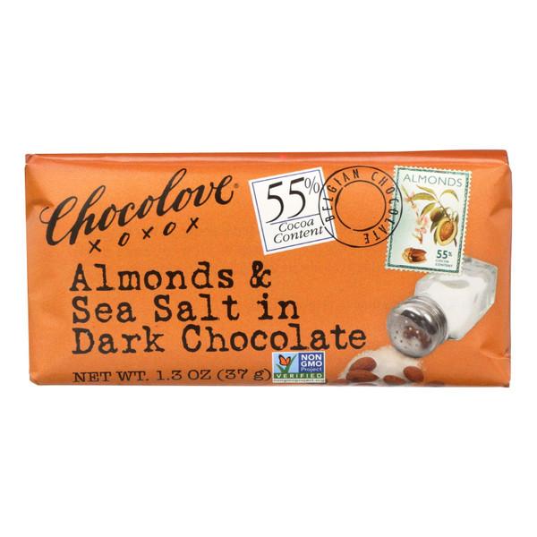 Chocolove Xoxox Premium Chocolate Bar - Dark Chocolate - Almonds and Sea Salt - Mini 1.3 oz Bars - Case of 12