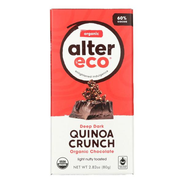 Alter Eco Americas Organic Chocolate Bar - Dark Quinoa - 2.82 oz Bars - Case of 12