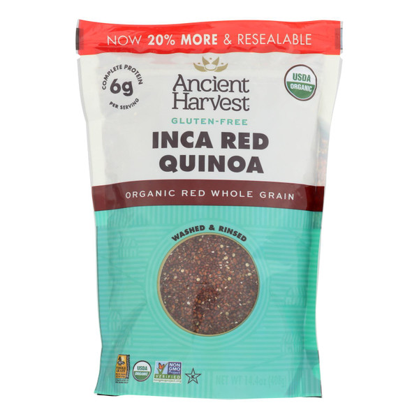 Ancient Harvest Organic Quinoa - Inca Red Grains - Case of 12 - 14.4 oz