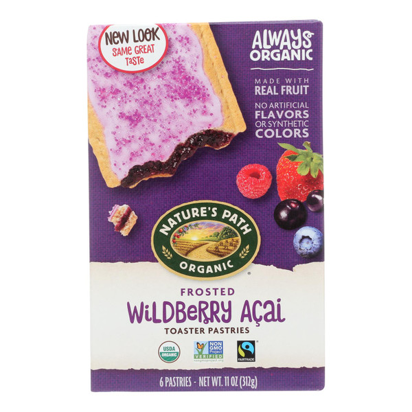 Nature's Path Organic Frosted Toaster Pastries - Wildberry Acai - Case of 12 - 11 oz.