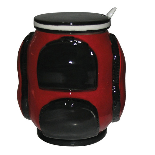 Golf Sugar Bowl with Spoon- Red