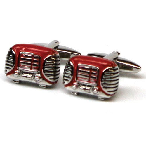 Red Retro Radio Cufflinks