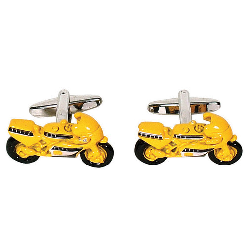 Race Motor Bike Cufflinks Yellow