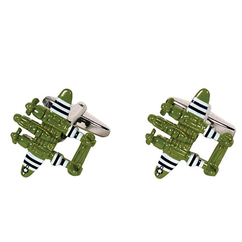 Twin Prop Fighter Plane Cufflinks