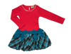 Sophie Catalou Girls Toddler & Kids Carnation/Teal Drop-Waist Dress 2-8y