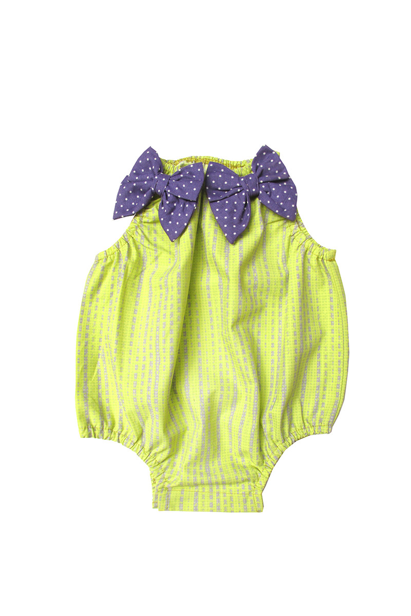 0c316b7245e5 Sophie Catalou Girls Infant Citron Lavender Printed Baby Bubble 3m ...