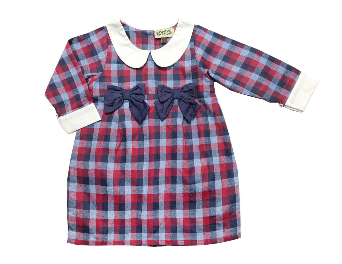 e0d14111876 Sophie Catalou Girls Infant Toddler   Kids Navy Red High Waist Plaid Dress  5-10y - Sophie Catalou