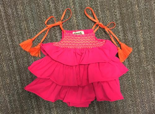 Sample Sale Raspberry Knit Ruffle Romper