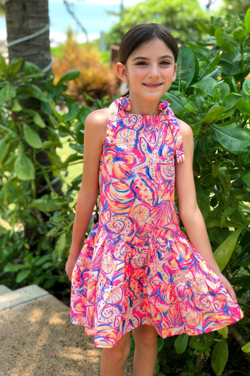 Sophie Catalou Girls Toddler & Kids Fluorescent Print Tiered Dress 2-10y
