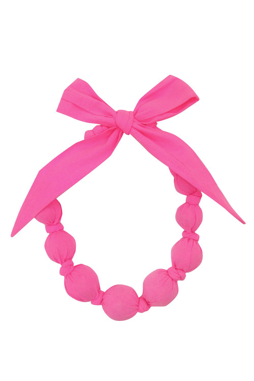 Sophie Catalou Girls Neon Pink Wooden Bead Necklace