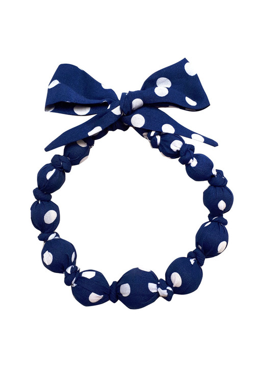 Sophie Catalou Girls Navy Dot Wooden Bead Necklace