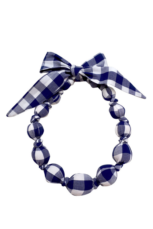 Sophie Catalou Girls Navy Checks Wooden Bead Necklace