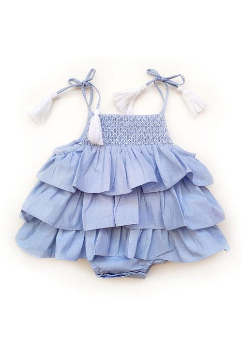 Sophie Catalou Girls Infant Rowan Ruffle Romper 3m-12m