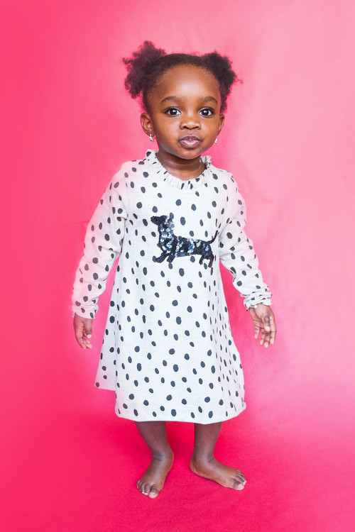 Sophie Catalou Girls Toddler & Kids Dalmatian Knit Dress 2-8y
