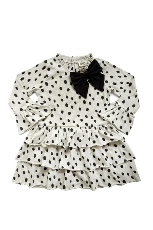 Sophie Catalou Girls Toddler & Kids Dalmatian Knit Bow Dress 18m-8y