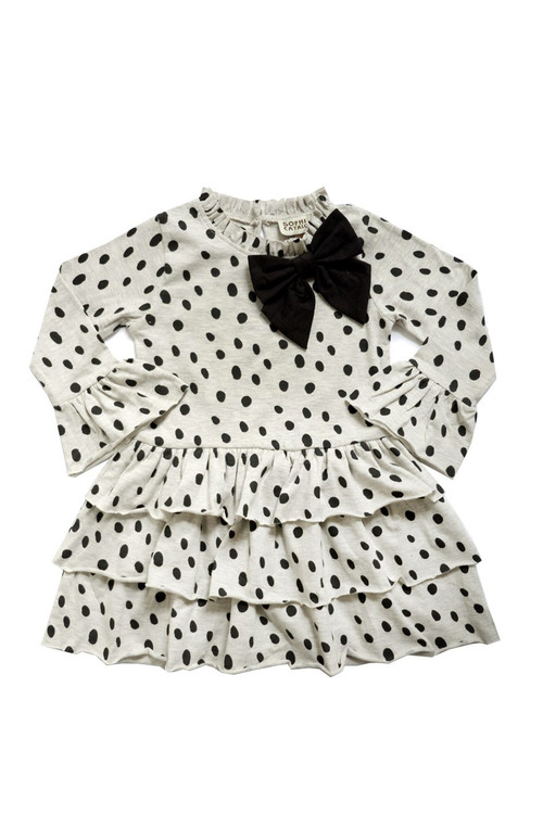 Sophie Catalou Girls Toddler & Kids Dalmatian Knit Bow Dress 18m-8y