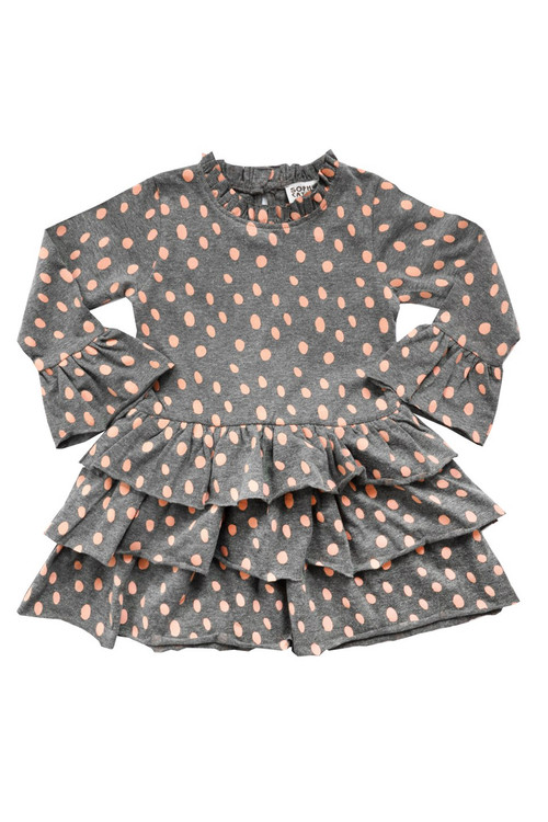 Sophie Catalou Girls Toddler & Kids Blush Dalmatian Knit Dress 18m-8y
