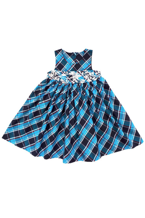 Sophie Catalou Girls Toddler & Kids Teal Plaid Embroidered Dress 12m-9/10y