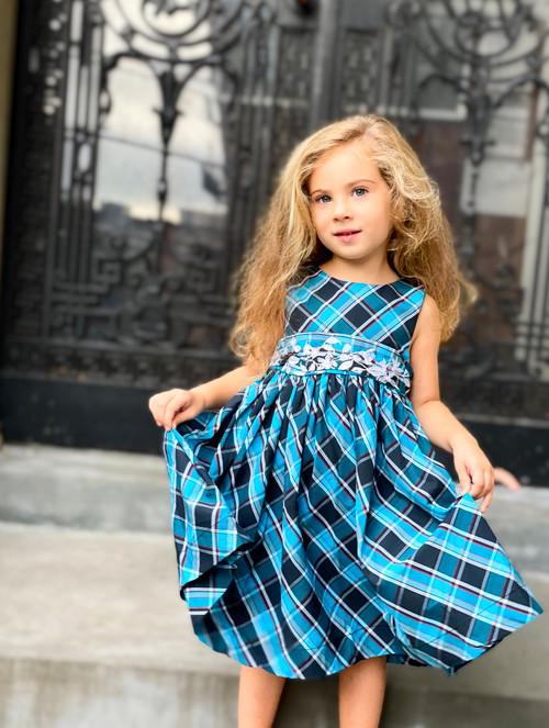 Sophie Catalou Girls Toddler & Kids Teal Plaid Embroidered Dress 12m-9/10y