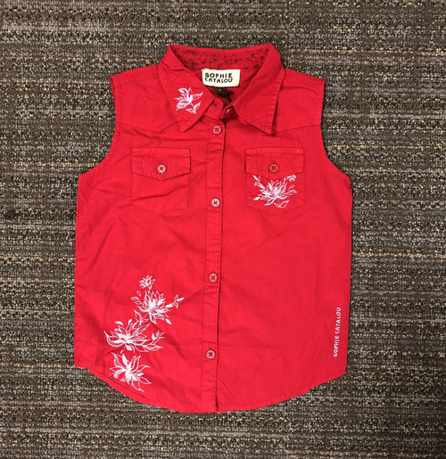 Sample Sale Red Embroidered Top